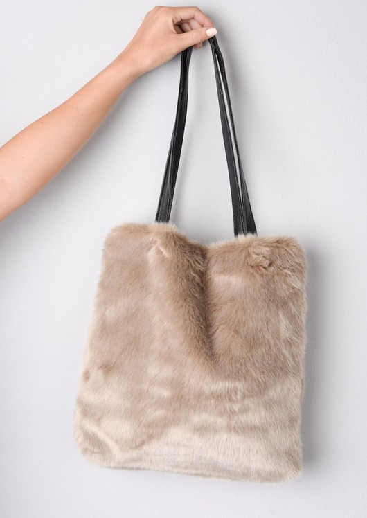 Faux Fur Shopper Tote Bag Beige