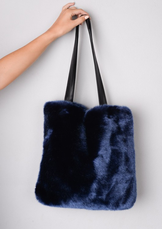 Faux Fur Shopper Tote Bag Navy Blue