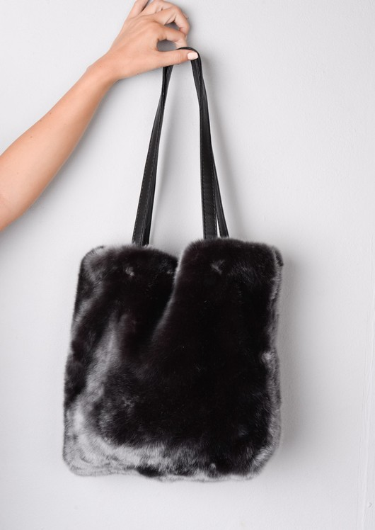 Faux Fur Shopper Tote Bag Grey