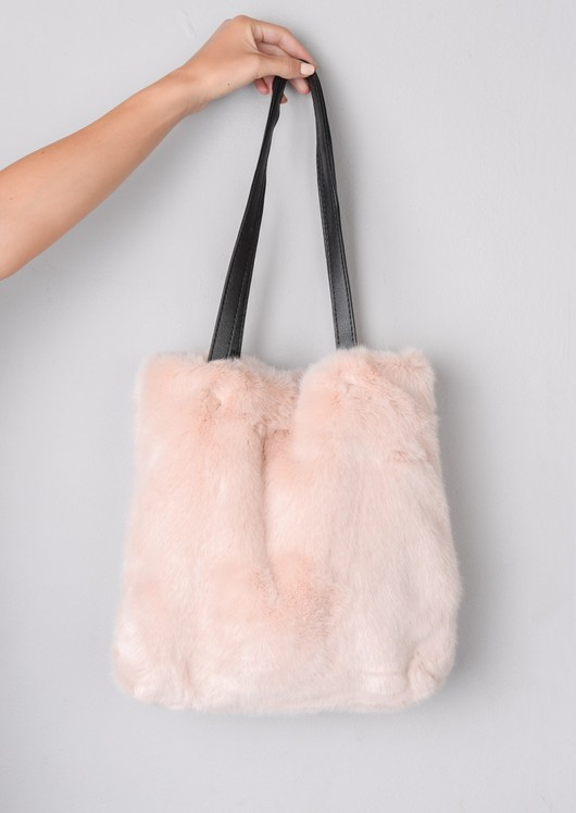 Faux Fur Shopper Tote Bag Pink