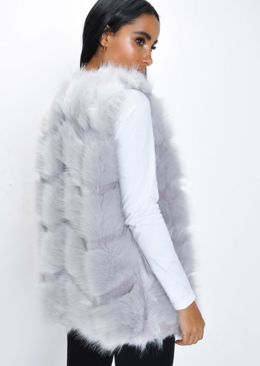Faux Fur Soft Gilet Grey