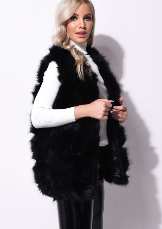 Faux Fur Stripe Gilet Jacket Black