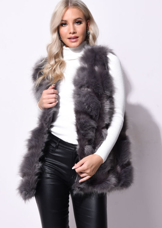 Faux Fur Stripe Gilet Jacket Dark Grey