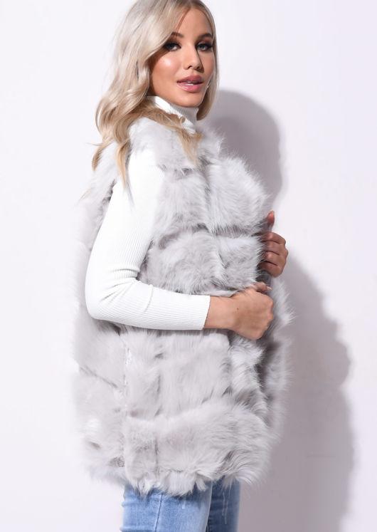 Faux Fur Stripe Gilet Jacket Grey