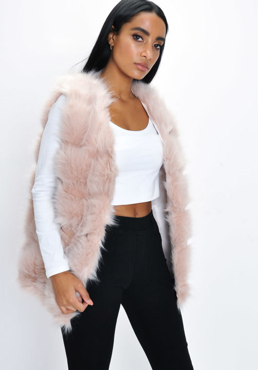 Faux Fur Stripe Gilet Jacket Pink