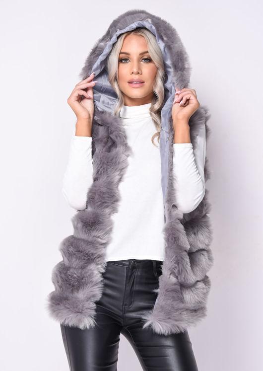 Faux Fur Stripe Hooded Gilet Jacket Grey
