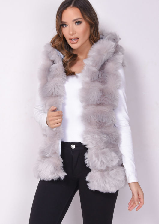 Faux Fur Stripe Hooded Gilet Jacket Light Grey