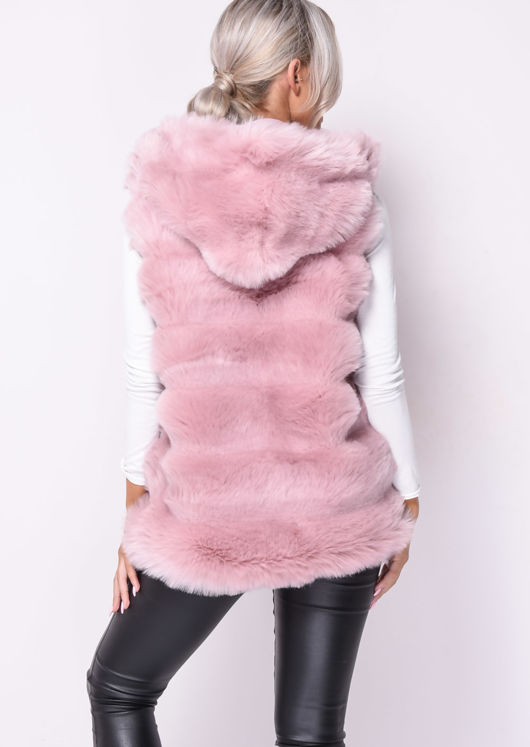 Faux Fur Stripe Hooded Gilet Jacket Pink