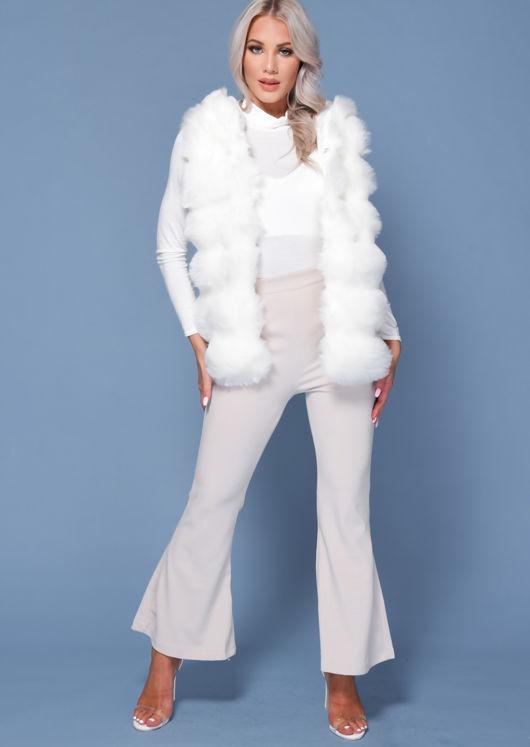 Faux Fur Stripe Hooded Gilet Jacket White