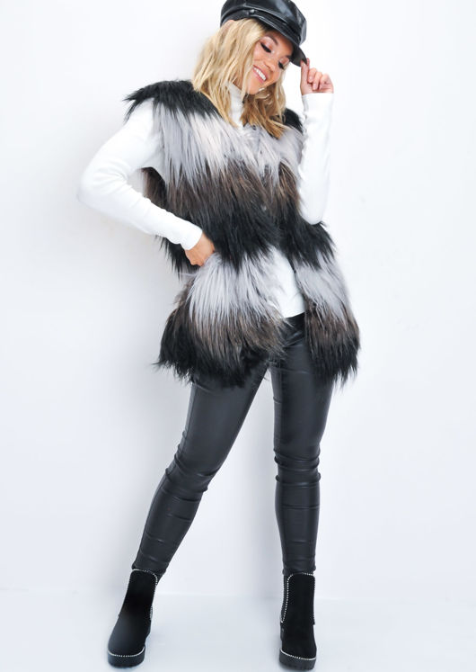 Faux Fur Stripe Longline Gilet Black