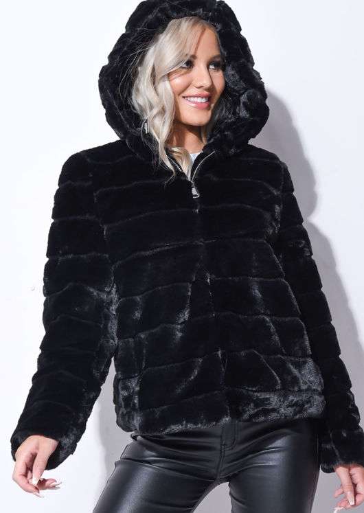 faux-fur-striped-crop-hooded-coat-black by lily-lulu-fashion