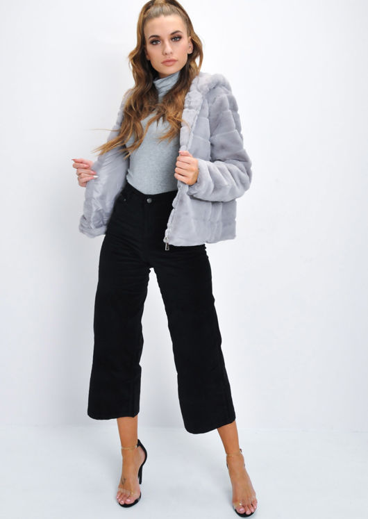 Faux Fur Striped Crop Hooded Coat Grey