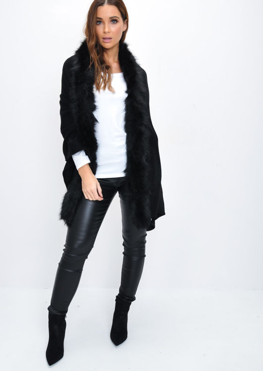 Faux Fur Trim Knitted Poncho Cape Wrap Black