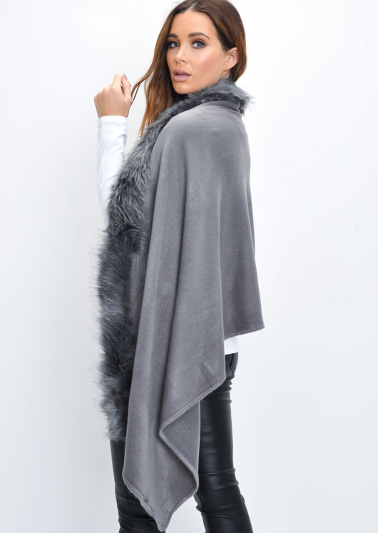 Faux Fur Trim Knitted Poncho Cape Wrap Grey