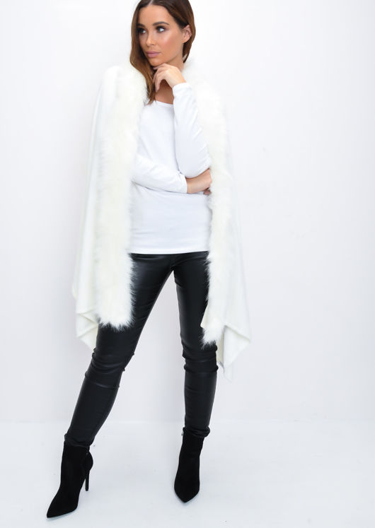 Faux Fur Trim Knitted Poncho Cape Wrap White