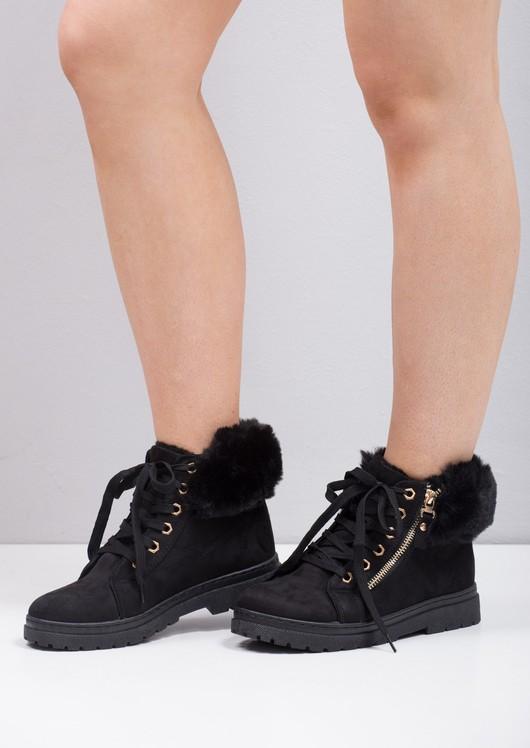 Faux Fur Trim Lace Up Chukka Ankle Boots Black