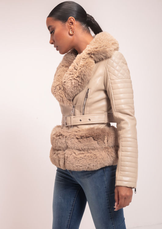 Faux Fur Trimmed Fitted Faux Leather Belted Biker Jacket Beige