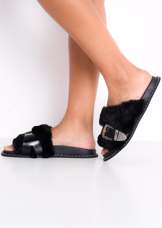 Faux Fur Western Multi Buckle Sliders Black