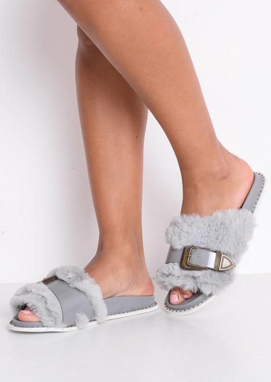 Faux Fur Western Multi Buckle Sliders Grey