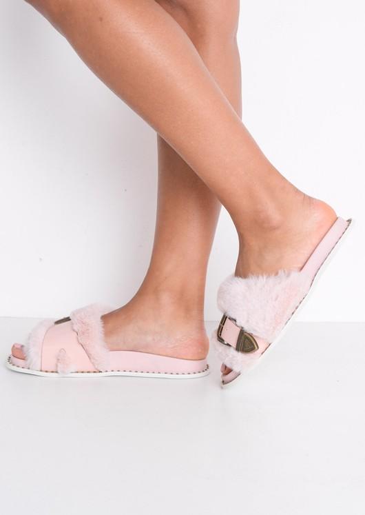 Faux Fur Western Multi Buckle Sliders Pink