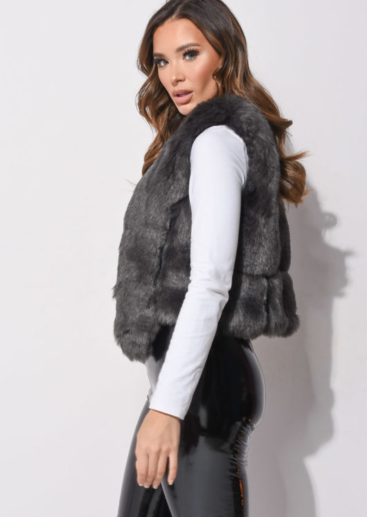 Faux Fur Faux Leather Crop Gilet Dark Grey