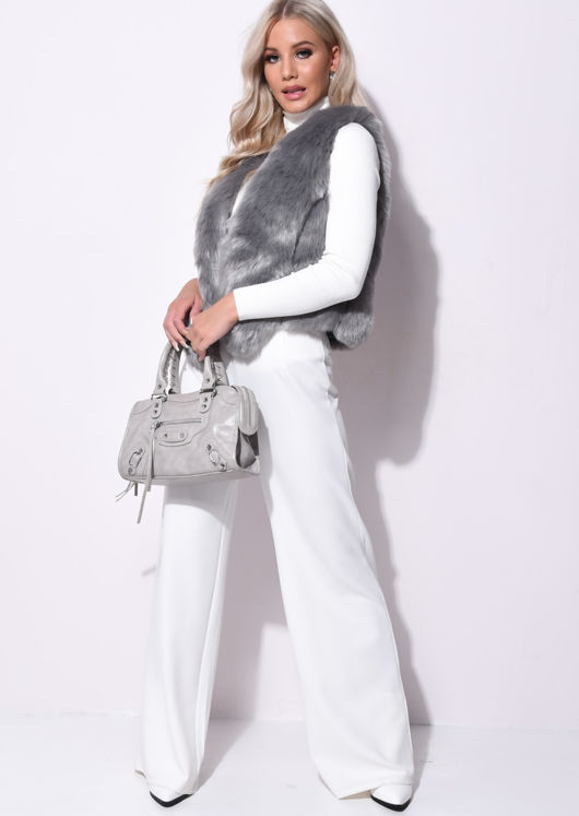 Faux Fur With Inserted Faux Leather Gilet Grey