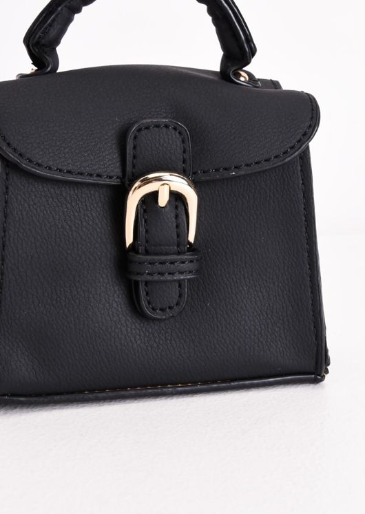 Faux Leather Buckle Front Micro Mini Tote Bag Black