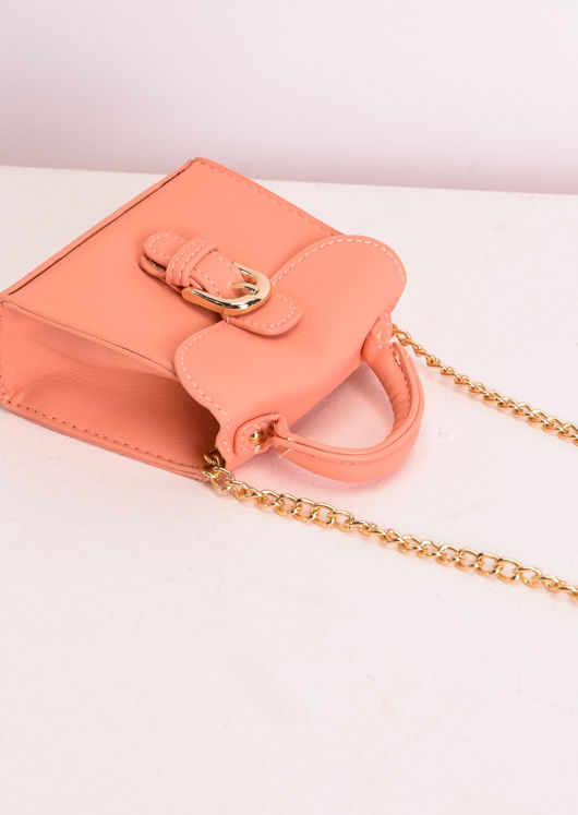 Faux Leather Buckle Front Micro Mini Tote Bag Coral Pink