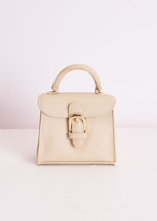 Faux Leather Buckle Front Micro Mini Tote Bag Cream Beige