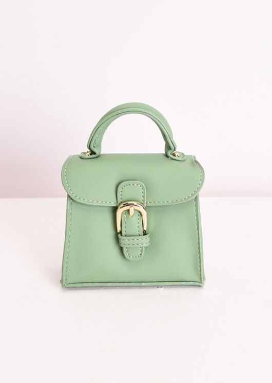 Faux Leather Buckle Front Micro Mini Tote Bag Green