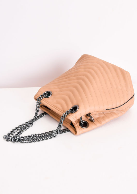 Faux Leather Chevron Chain Pouch Bag Brown