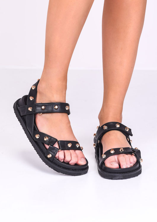 Faux Leather Studded Chunky Strap Sandals Black