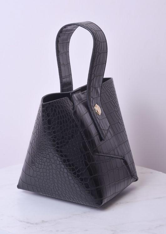 Faux Leather Croc Print Insert Pouch Bag Black
