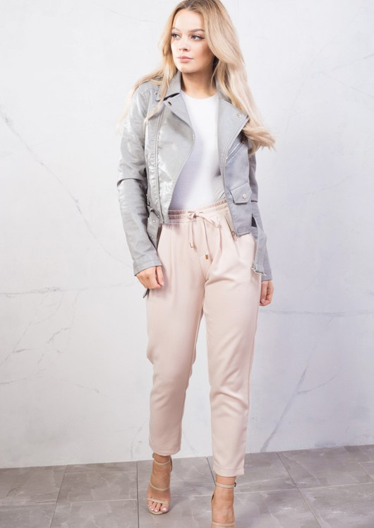 Faux Leather Crop Biker Jacket Grey