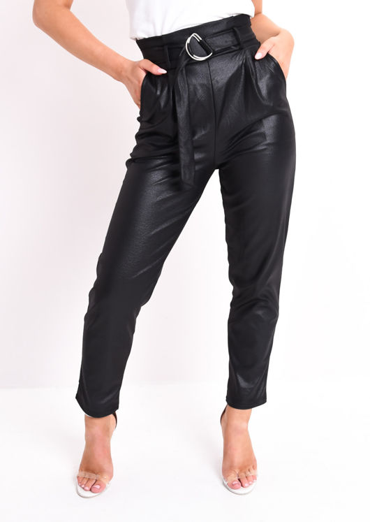 Faux Leather D Ring Belted Trouser Black