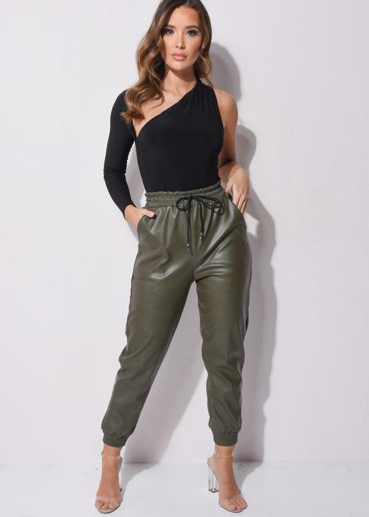PU Leather Look Pocket Detail Utility Jogger Trousers Khaki Green