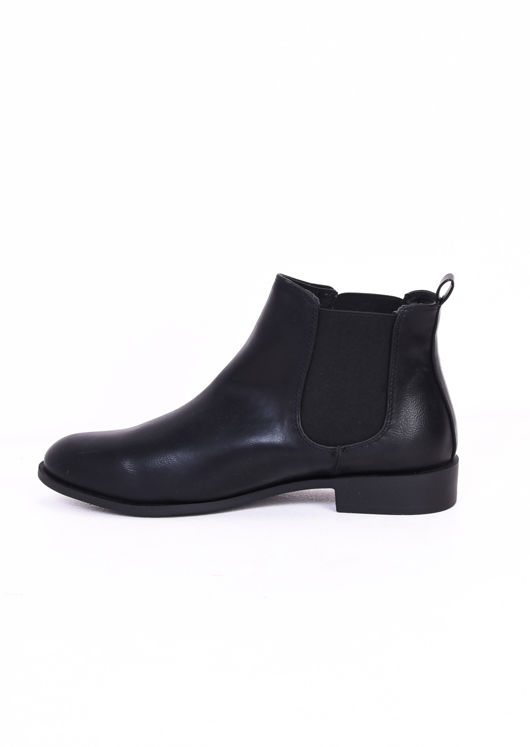 Faux Leather Elastic Insert Chelsea Ankle Boots Black