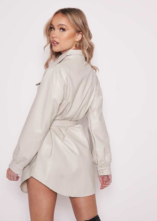 Faux Leather Pu Flap Pocketed Belted Long Sleeve Shacket Beige