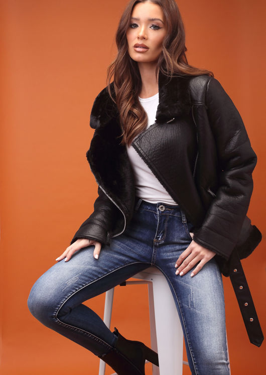 Faux Leather Shearling Oversized Aviator Biker Jacket Black