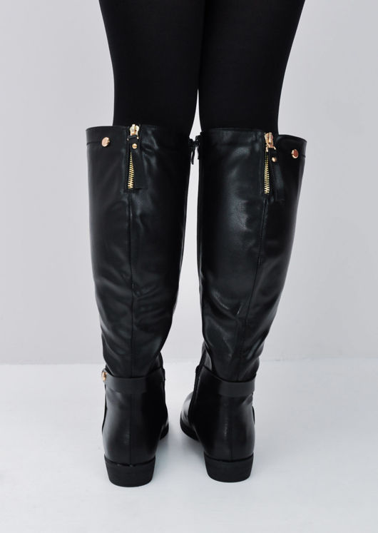 Faux Leather Gold Detail Long Boots Black