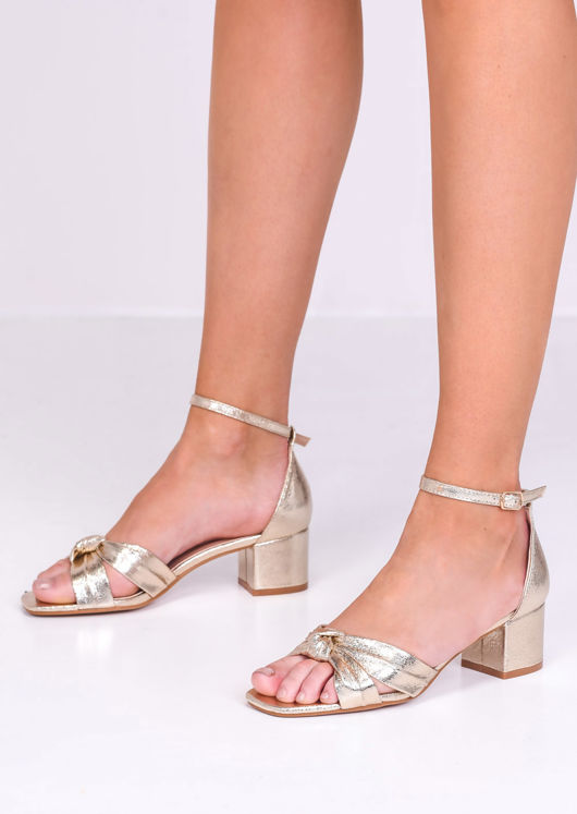 Faux Leather Knot Front Heeled Sandals Gold