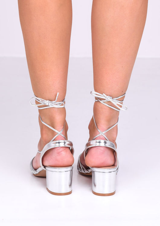 Faux Leather Lace Up Block Heel Sandals Silver