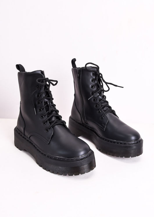 Faux Leather Lace Up Platform Combat Ankle Boots Black
