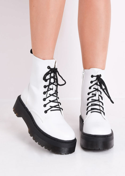 Faux Leather Lace Up Platform Combat Ankle Boots White