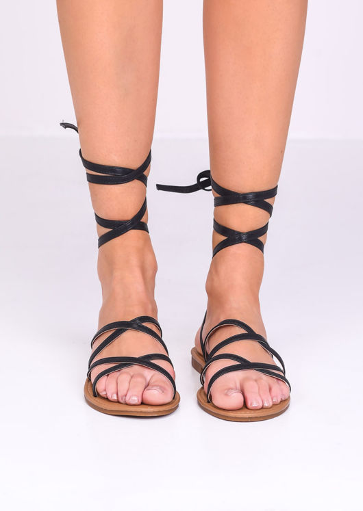 Faux Leather Lace Up Strappy Flat Sandals Black