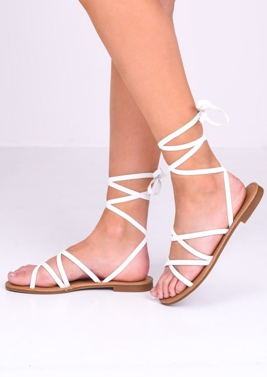 Faux Leather Lace Up Strappy Flat Sandals White