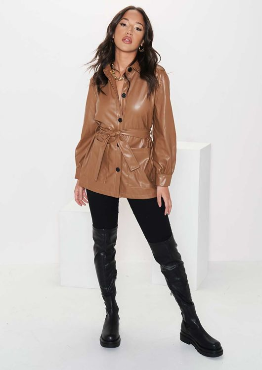 Faux Leather Pu Long Sleeved Belted Button Down Shacket Brown
