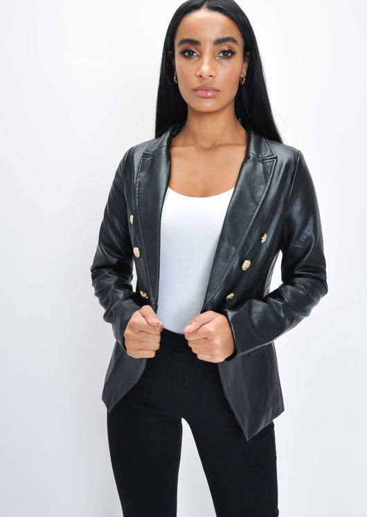 Faux Leather Miltary Gold Button Blazer Jacket Black