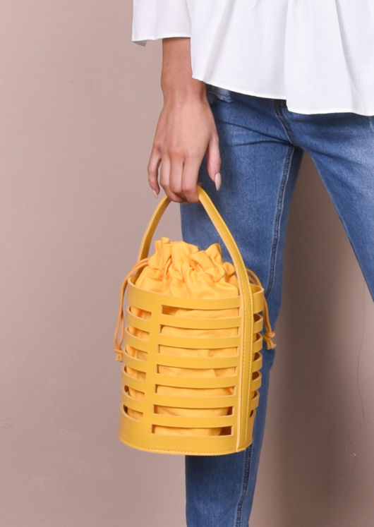 Faux Leather Mini Bucket Bag Mustard Yellow