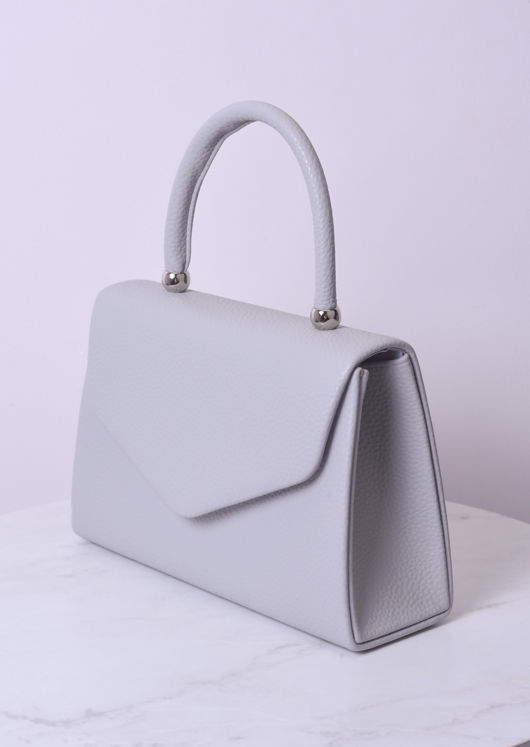 Faux Leather Mini Envelope Bag Grey
